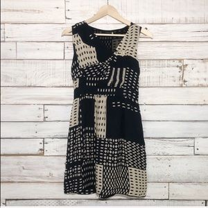 Anthropologie Leifsdottir Navy Cream Print Dress 2
